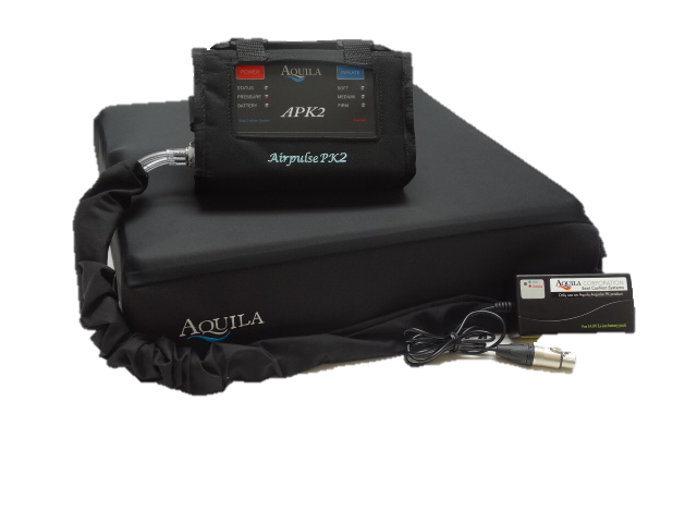 Aquila APK2 wheelchair cushion with controller in covers and charger